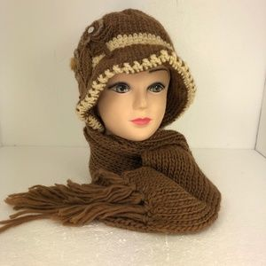 Ladies Knitted Flower Hat/Beanie & Scarf Set Brown